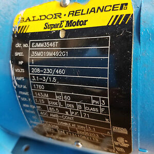 Baldor Ejmm3546t 1 Hp 1760 Rpm Baldor Electric Motor