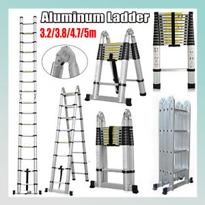 3 2m 5m Aluminum Telescopic Collapsible Loft Folding Hatch Attic Stairs Ladder
