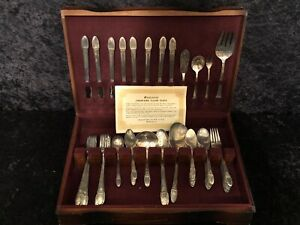 Vintage 1847 Rogers Brothers Silverware First Love 57 Piece Partial Set
