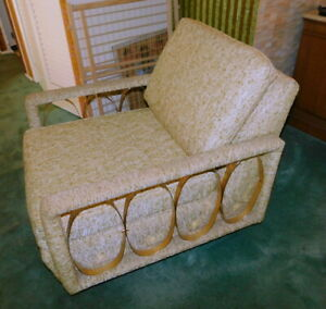 Unique Mid Century Hollywood Regency Italian Tweed Brass Lounge Accent Chair