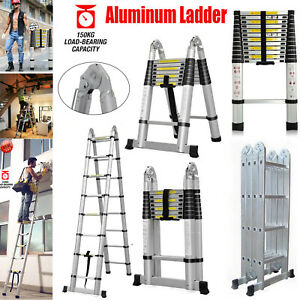 Aluminum Telescopic Collapsible Loft Folding Hatch Attic Stairs Ladder En131