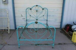 Antique Fancy Decorative Cast Iron Bed With Old Robins Egg Blue Paint Full Size