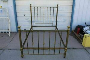 Vintage Full Size Brass Bed With Knob Finial Caps