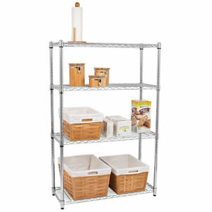 47 4 Layer Durable Wire Rack Metal Shelf Shelving Adjustable Organizer Storage