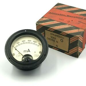 0 500ma Dc Panel Meter Ammeter Made In Italy Nos