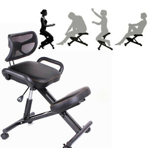 New Designed Knee Back Handle Office Kneeling Chair Black Caster