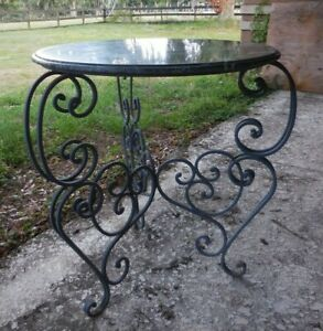 Vintage 31 Round Green Marble Stone Top Table W Fancy Wrought Iron Base