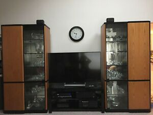 Pair Of Teak And Glass Cabinets With Storage And Bar 1980 S