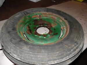 1941 Oliver 60 Row Crop Farm Tractor Front Tire Wheel 5 00 X 15 rim Is Dented