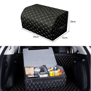 Car Trunk Organizer Universal Pu Leather Auto Fordable Storage Bag For Bmw Audi