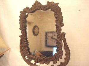 Vintage Ornate Heavy Brass Table Mirror That Swivels