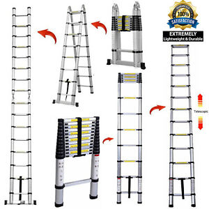 12 5ft 16 5ft Aluminum Multi purpose Telescopic Ladder Extension Foldable Duty