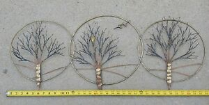 Mid Century Modern Brutalist Curtis Jere Style Trees Metal Wire Wall Sculpture