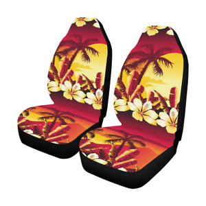Tropical Sunset With Hibiscus Flowers Car Seat Covers Set Of 2 Auto Accessories