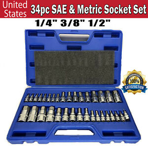 Master Hex Bit Set Sae Metric Socket Kit Standard Allen 1 4 3 8 1 2 Inch