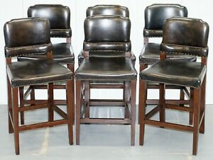 Set Of 6 Halo Springfield Rrp 3570 Brown Leather Oak Counter Bar Kitchen Stools