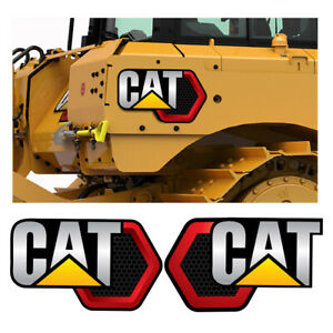 2 Large Escavator Caterpillar Stickers Cat Huge Decals 42x26 Each