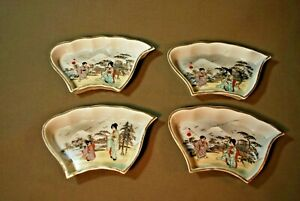 Antique Hand Painted Japanese Four Sushi Trays Mint Condition