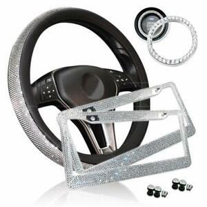 Zone Tech Car Bling Set Steering Wheel Cover License Plate Frame Ring Sticker