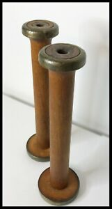 2 Antique Primitive Textile Thread Spools