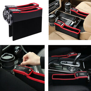 2pcs Car Seat Gap Storage Organizer Pocket Coin Collector Pu Leather Cup Holder