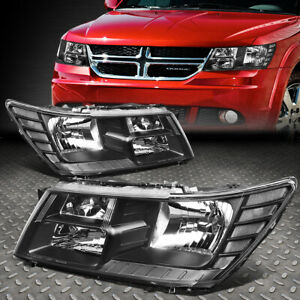 For 09 17 Dodge Journey Black Housing Clear Corner Headlight Replacement Lamps
