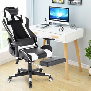 180 Lying Recliner High Back Office Gaming Chair Racing Rocker W Footrest Us