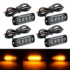 4pcs 4 Led Surface Mount Emergency Beacon Hazard Warn Flash Strobe Light Amber