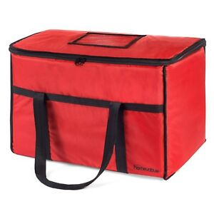 Food Delivery Bag Uber Grubhub Red Thermal Insulated Nylon Grocery Carrier Xl