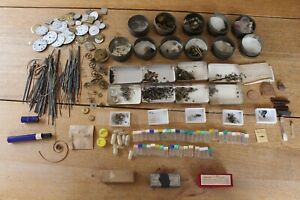 Vintage Watch Clock Makers Parts Faces Wire Hair Mainspring Balance Wheel Tins