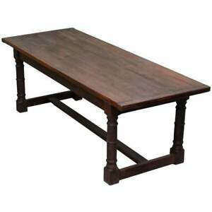 Vintage Timber Planked Top English Farmhouse Refectory Dining Table Seats 8 10