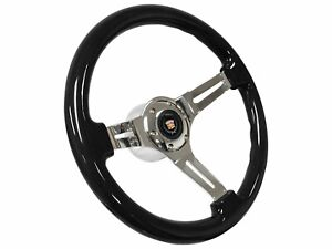 1984 1989 Cadillac S6 Black Ash Wood Steering Wheel Kit Telescopic Adapter