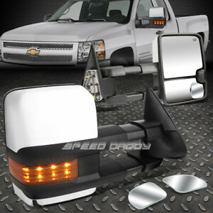 Power Heat Tow Mirror W back Led blind Spot Corner Convex For 03 06 Avalanche
