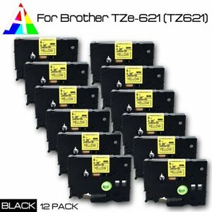 Tz 621 Tze 621 Black On Yellow Compatible Brother Label Maker Tape P touch 12pk