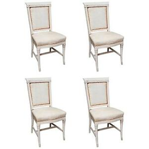 Set Of 4 Antique Hand Painted French Dining Chairs