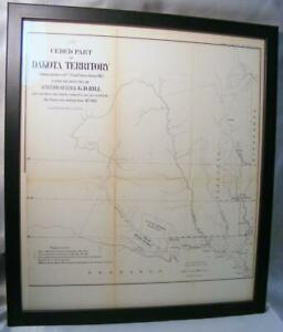 Original 1862 Ceded Part Of Dakota Territory Showing Progress Us Land Survey Map