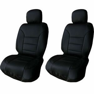 Ultra Black Pu Leather 4 Pcs Low Back Seat Covers For Auto Cars Suvs Front Pair