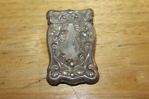 Antique Art Nouveau Floral Owl Motif Sterling Silver Pocket Match Safe Vesta