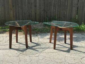 2 Mid Century Danish Modern Adrian Pearsall Stingray Glass Top End Side Tables
