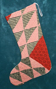 Primitive Antique Vintage Cutter Quilt Christmas Stockings Blue Red 16 3