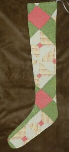 Primitive Antique Cutter Quilt Long Skinny Christmas Stockings Green Red