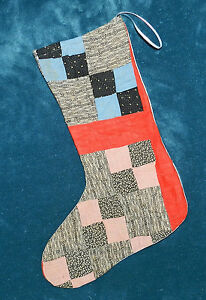 Primitive Antique Vintage Cutter Quilt Christmas Stockings Blue Red 16 75