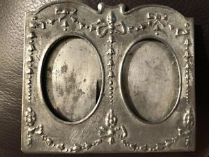 Antique Double Oval Small 3 Picture Frame Hand Made Tin Decorative Border