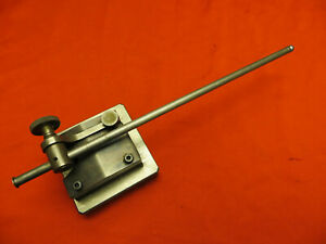 Vtg Ls Starrett Dial Indicator Stand W Custom Weighted Base Machinist Tool 1462