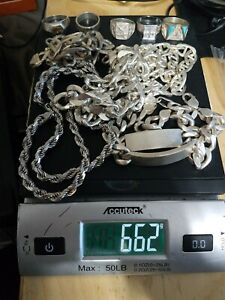 Lot Of 660 Grams Of Sterling Silver 925 Not Scrap Wearable Mens Jewelry