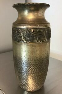 Rare Early 20th Century Wmf Anodized Brass Vase Embossed With Band Of Flowers