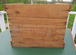 Vintage J Jw Elsworth Fire Place 4 Oysters Tin Wooden Box Shipping Crate