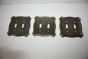 3 Mid Century 1968 American Tack Hardware Brass Double Switch Covers Euc