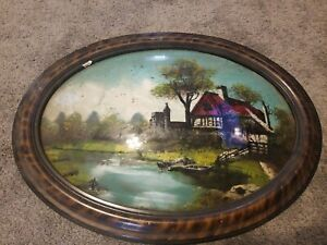 Vintage Convex Glass Oval Frame Reverse Painted Bubble Glass Tiger Stripe Frame