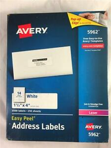 Avery 5962 White Easy Peel Address Labels 3 500 Total Labels 3500 1 1 3 X4